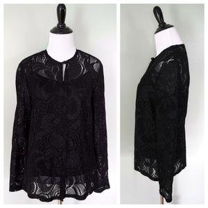 TALBOTS Black Metallic Knit Sheer Sweater Top 2P